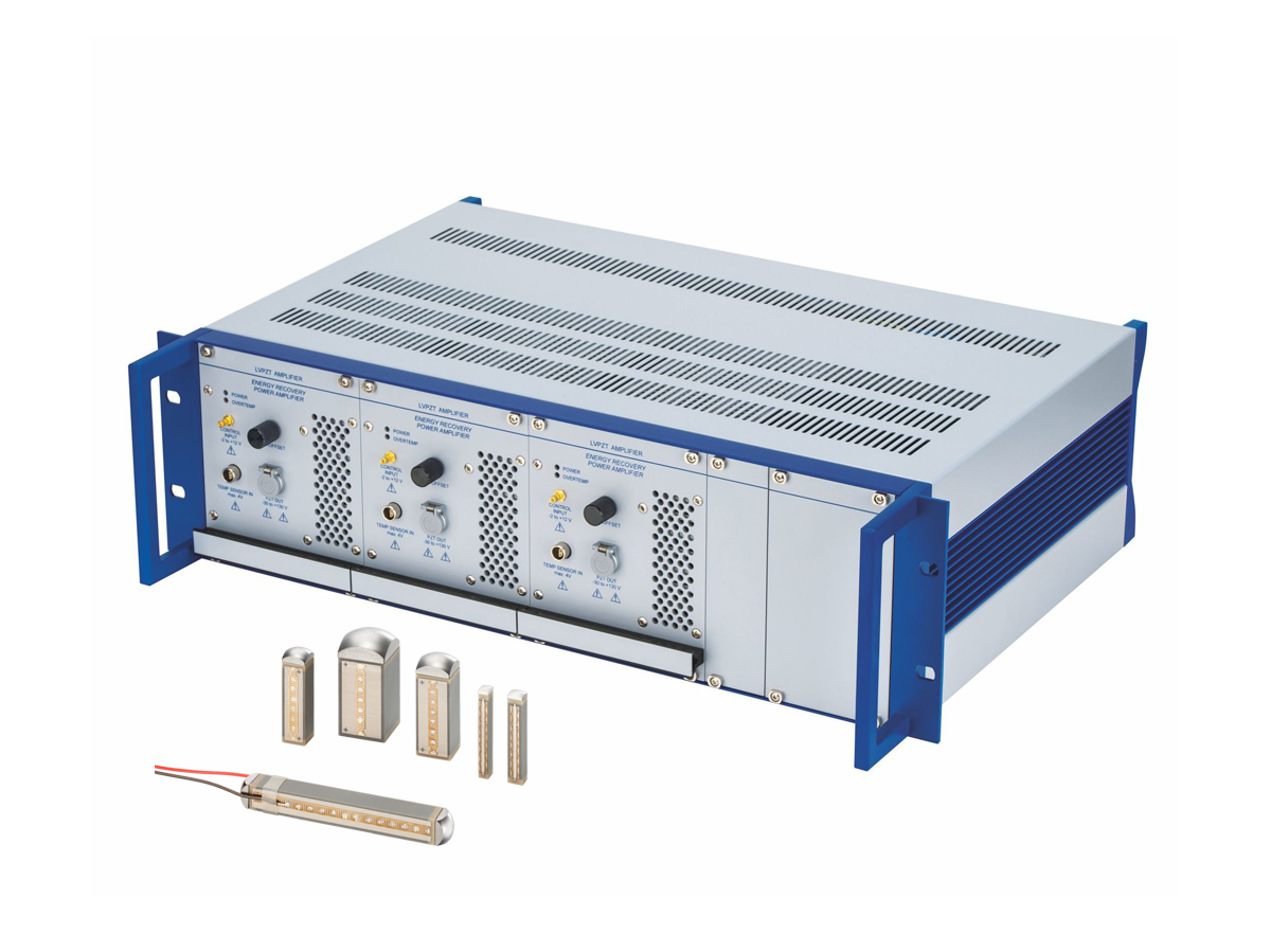 E-619 Modular High-power Piezo Amplifier for Dynamic Applications with Multilayer Actuators (shown with P-882 – P-888 PICMA® Stack Multilayer Piezo Actuators)