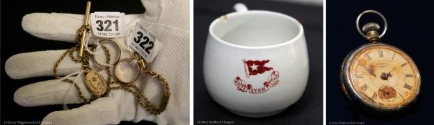 الأولى لقفاز عليه مجوهرات كل منها مربوط ببطاقة، والثانية لفنجان أبيض عليه رسوم وكتابة باللون الأحمر، والثالثة لساعة جيب اعتلاها الصدأ بسبب المياه (© AP Images)