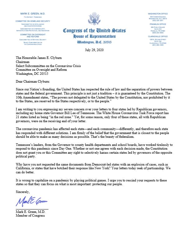 Rep. Green Letter to Whip Clyburn Re Selective Harassment of Republican Governors.JPG