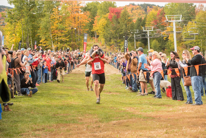 2017 North American Wife Carrying Championship Couple running to finish line
